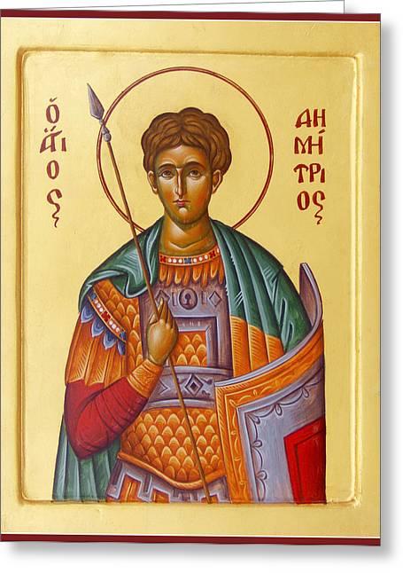 Julia Bridget Hayes Greeting Cards - St Demetrios the Great Martyr and Myrrhstreamer Greeting Card by Julia Bridget Hayes
