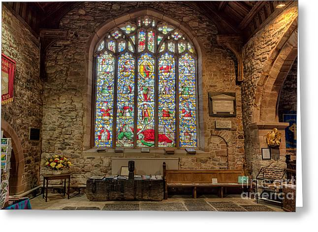 Historic Architecture Digital Art Greeting Cards - St Dyfnog Greeting Card by Adrian Evans