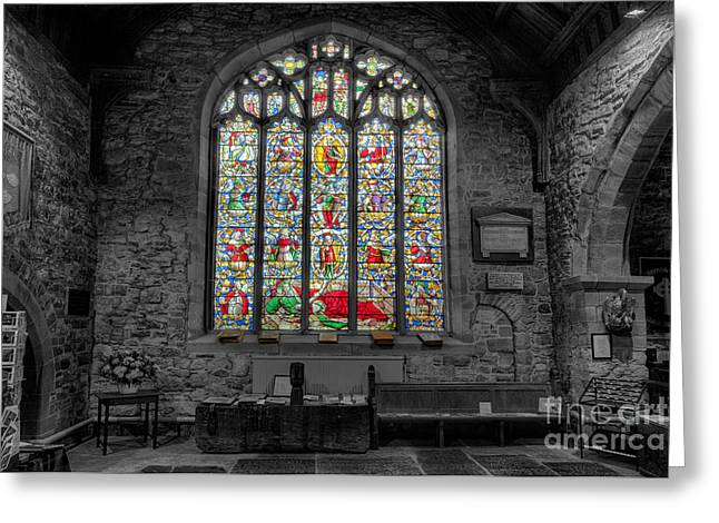 Historic Architecture Digital Art Greeting Cards - St Dyfnog Window Greeting Card by Adrian Evans