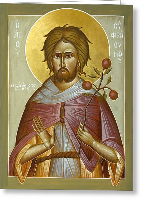 Orthodox Paintings Greeting Cards - St Euphrosynos the Cook Greeting Card by Julia Bridget Hayes