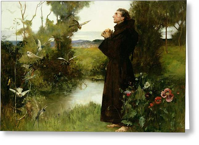 Francis Greeting Cards - St. Francis Greeting Card by Albert Chevallier Tayler