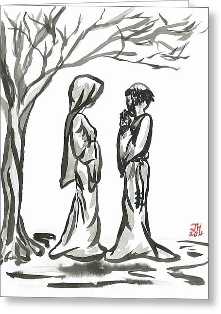 E Black Greeting Cards - St. Francis and St. Clare Greeting Card by Jason Honeycutt