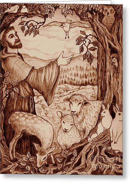 Kingdom Of God Greeting Cards - St. Francis Greeting Card by Debra A Hitchcock