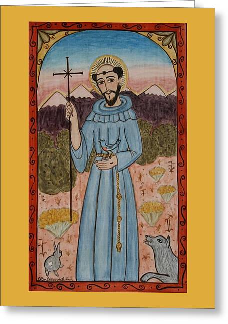 Patron Saint Of Animals Greeting Cards - St. Francis in New Mexico Greeting Card by Ellen Chavez de Leitner