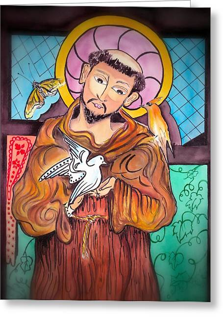 Handpainted Icon Greeting Cards - St. Francis of Assisi Greeting Card by Myrna Migala