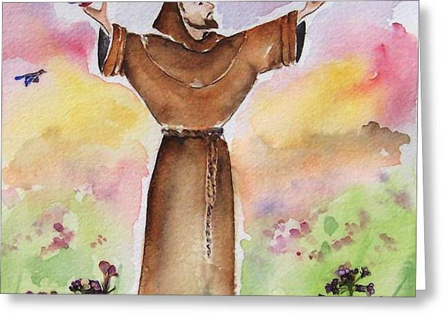 St Francis of Assisi Greeting Card by Regina Ammerman