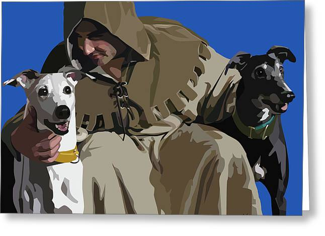 St. Francis with Two Greyhounds Greeting Card by Kris Hackleman