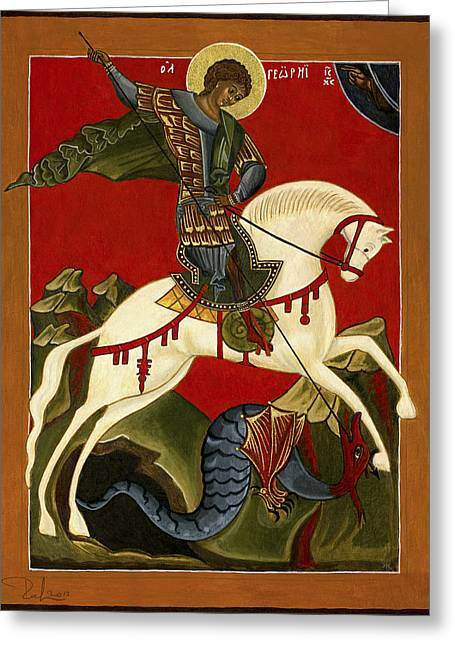 St George And The Dragon Greeting Card by Raffaella Lunelli
