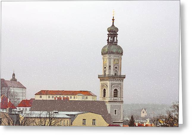 St. George in Snow - Freising Bavaria Germany Greeting Card by Christine Till