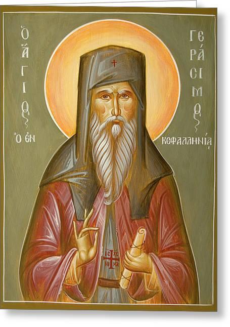 Hand-painted Icons Greeting Cards - St Gerasimos of Kefalonia Greeting Card by Julia Bridget Hayes