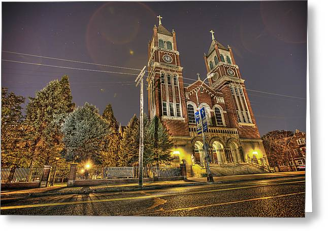 St. Hedwig Detroit Mi Greeting Card by Nicholas  Grunas