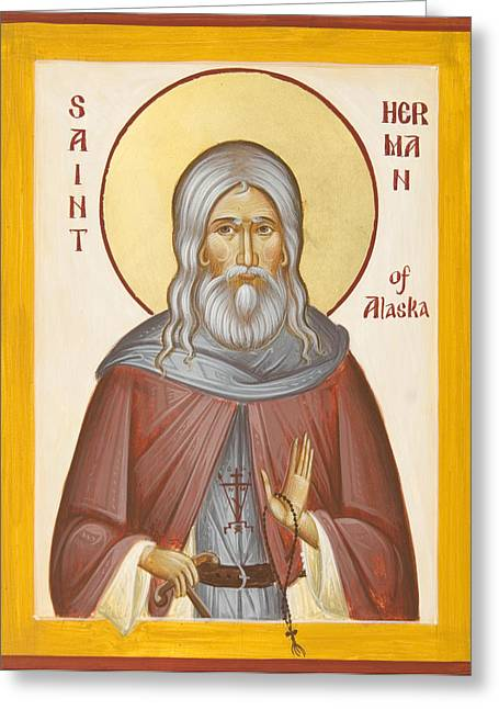 St Herman Of Alaska Paintings Greeting Cards - St Herman of Alaska Greeting Card by Julia Bridget Hayes