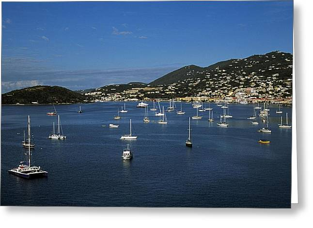 Boats In Harbor Greeting Cards - St Johns, Antigua, West Indies Greeting Card by John Doornkamp