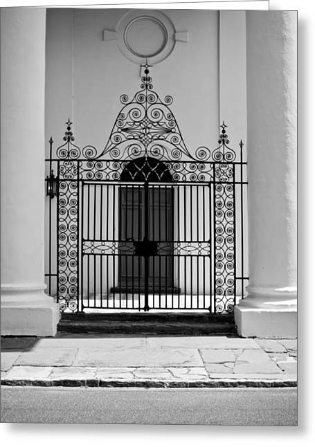 Wrought Iron Gate Greeting Cards - St Johns Lutheran Church Entrance Greeting Card by Dustin K Ryan
