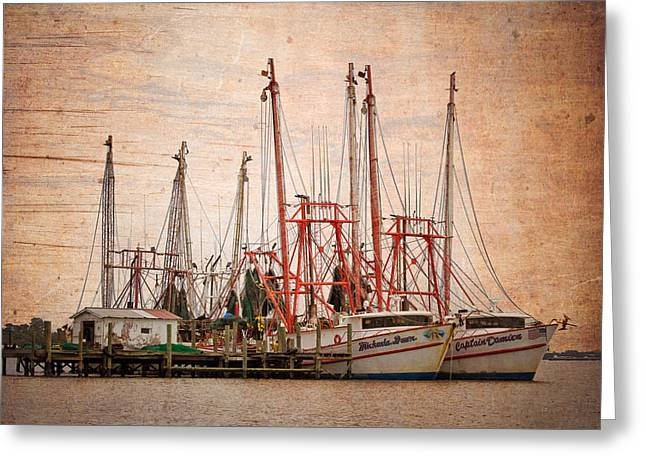 Docked Sailboats Greeting Cards - St Johns Shrimping Greeting Card by Debra and Dave Vanderlaan