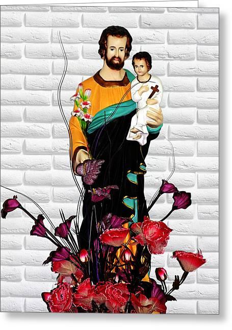Saint Joseph Greeting Cards - St Joseph holding Baby Jesus - Catholic Church Qibao China Greeting Card by Christine Till