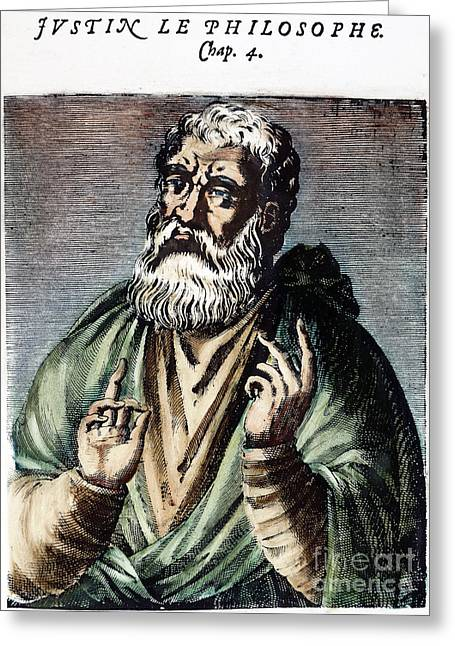 Early Christianity Greeting Cards - ST. JUSTIN (c100-c165) Greeting Card by Granger