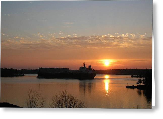 Bay St. Lawrence Greeting Cards - St Lawrence River Sunrise 9 Greeting Card by Robert P Hedden