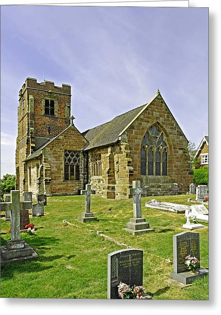 Churchyard Greeting Cards - St Leonards Church - Wychnor Greeting Card by Rod Johnson