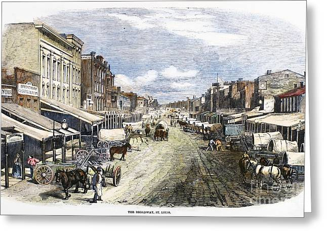 Broadway St Greeting Cards - St. Louis, 1858 Greeting Card by Granger