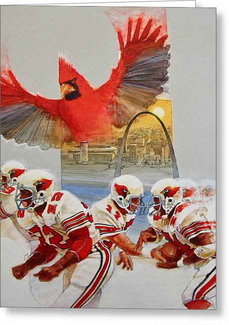 St Louis Cardinals Mixed Media Greeting Cards - St Louis Cardinals1980 Game Day Cover and Media Guide Cover Greeting Card by Cliff Spohn