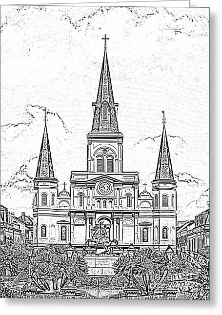 Photocopy Greeting Cards - St Louis Cathedral Above Jackson Square New Orleans Black and White Photocopy Digital Art Greeting Card by Shawn O