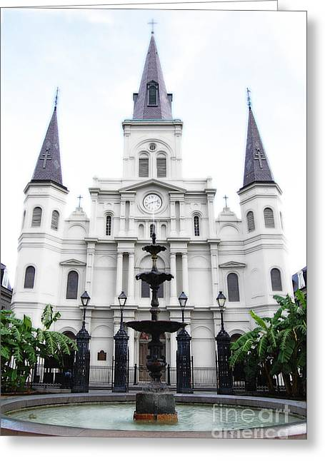Travelpixpro Greeting Cards - St Louis Cathedral and Fountain Jackson Square French Quarter New Orleans Diffuse Glow Digital Art Greeting Card by Shawn O