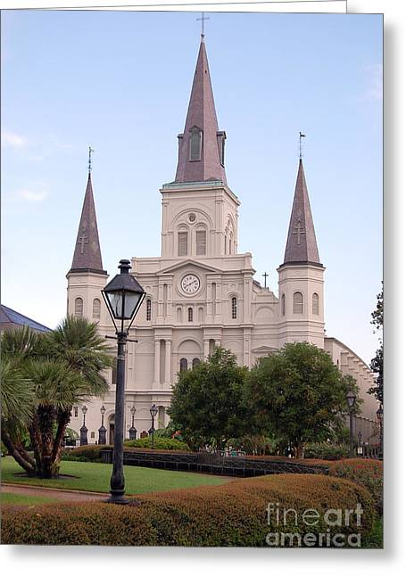 French Quarter Greeting Cards - St Louis Cathedral and Lampost on Jackson Square in the French Quarter New Orleans Greeting Card by Shawn O