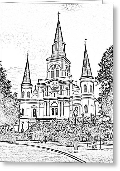 Photocopy Greeting Cards - St Louis Cathedral Jackson Square French Quarter New Orleans Photocopy Digital Greeting Card by Shawn O