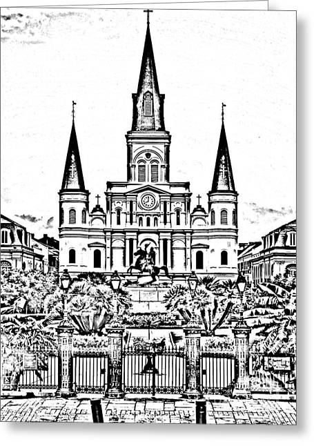 St Louis Cathedral On Jackson Square In The French Quarter New Orleans Photocopy Digital Art Greeting Card by Shawn O'Brien