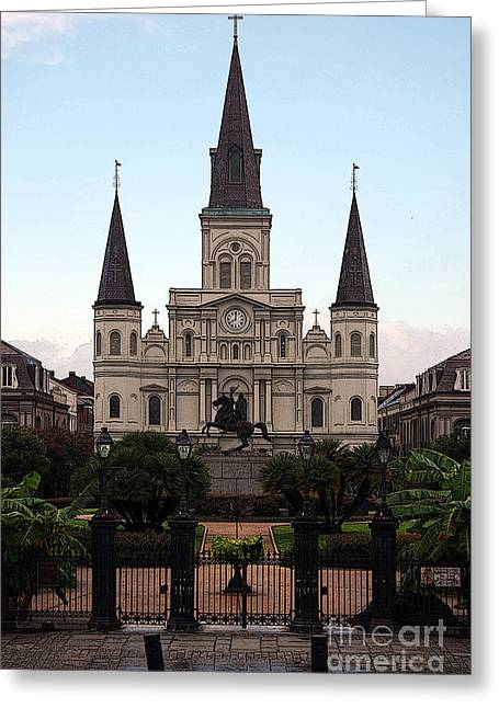French Quarter Greeting Cards - St Louis Cathedral on Jackson Square in the French Quarter New Orleans Poster Edges Digital Art Greeting Card by Shawn O
