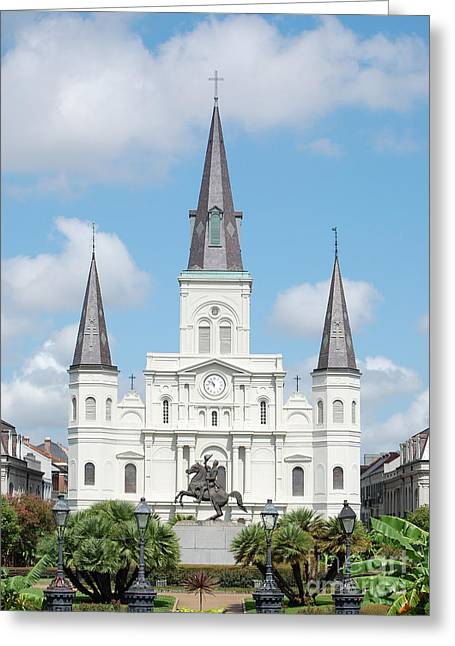 French Quarter Photographs Greeting Cards - St Louis Cathedral Rising Above Palms Jackson Square New Orleans Greeting Card by Shawn O