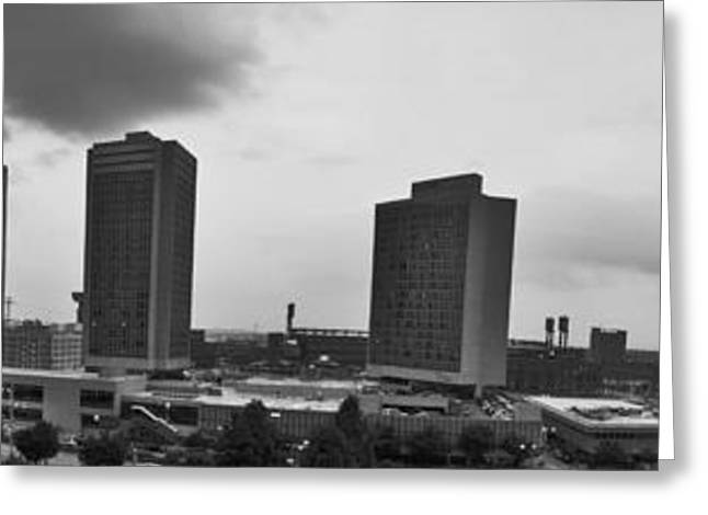 Dred Scott Greeting Cards - St Louis Downtown Panorama in black and white Greeting Card by Tim Mulina