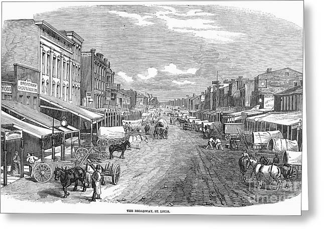 Broadway St Greeting Cards - St. Louis, Missouri, 1858 Greeting Card by Granger