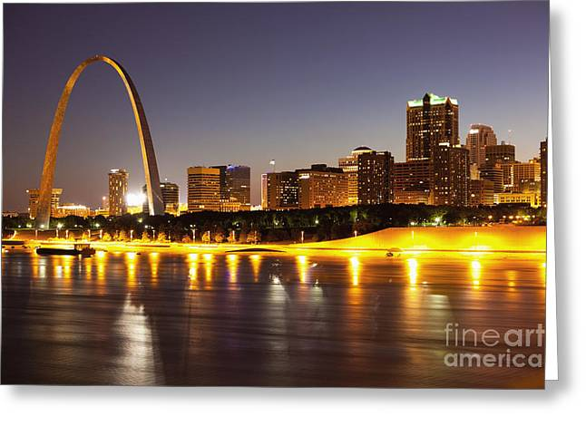 Illuminated Greeting Cards - St Louis Skyline Greeting Card by Bryan Mullennix