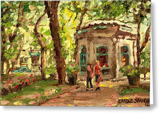 Prince Arthur Street Greeting Cards - St Louis Square St Denis Street Greeting Card by Carole Spandau