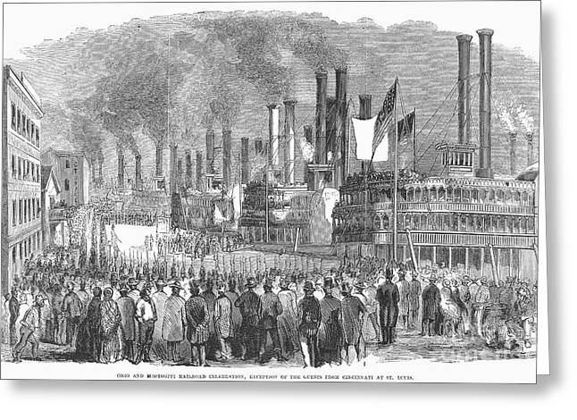 Steamboat Greeting Cards - St. Louis: Steamboats, 1857 Greeting Card by Granger