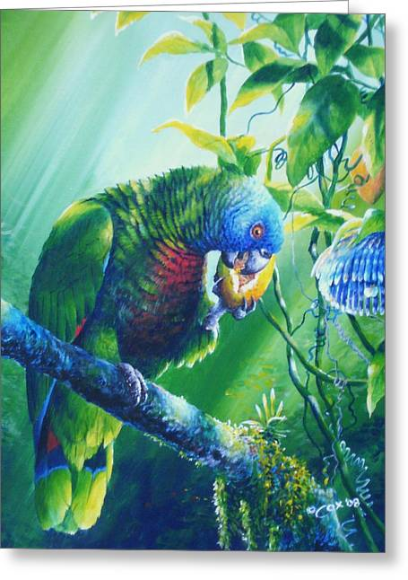 Passionfruit Greeting Cards - St. Lucia Parrot and Wild Passionfruit Greeting Card by Christopher Cox
