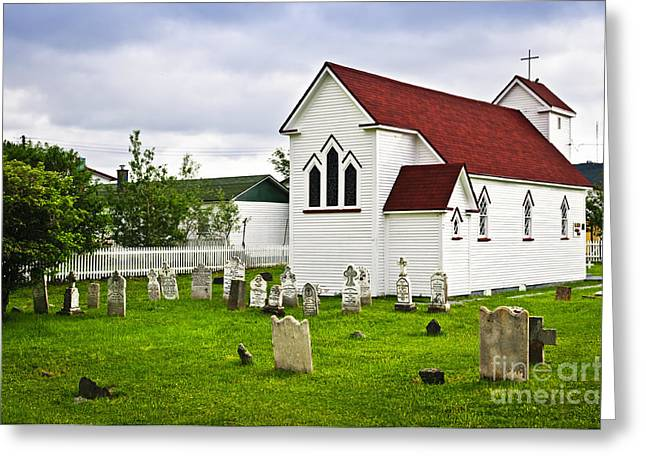 Gravestones Greeting Cards - St. Lukes Church in Placentia Newfoundland Greeting Card by Elena Elisseeva