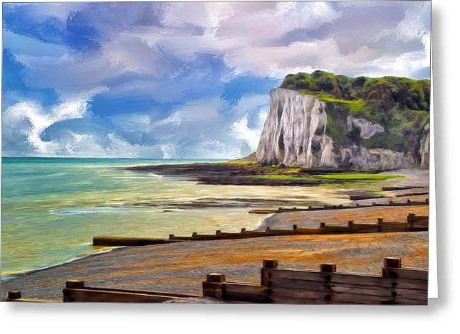 St Margaret Paintings Greeting Cards - St. Margarets Bay at Dover Greeting Card by Dominic Piperata