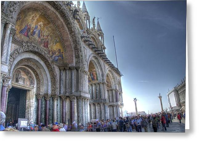The Piazza Greeting Cards - St Marks Basilica II Greeting Card by Jon Berghoff