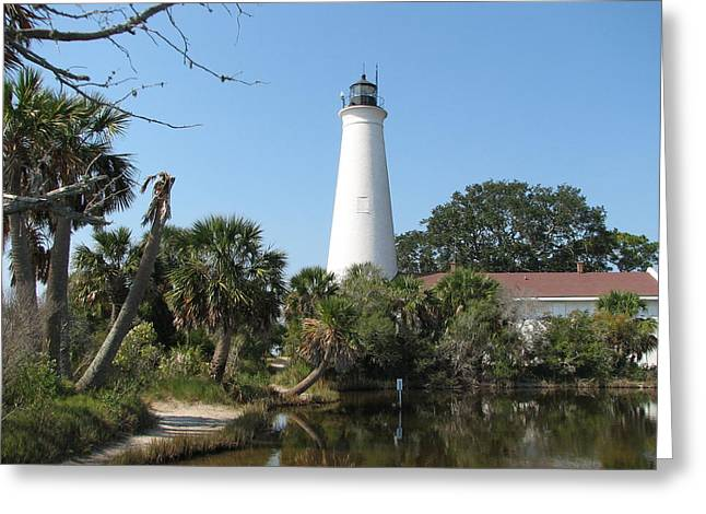 Carla Parris Greeting Cards - St. Marks Lighthouse Greeting Card by Carla Parris