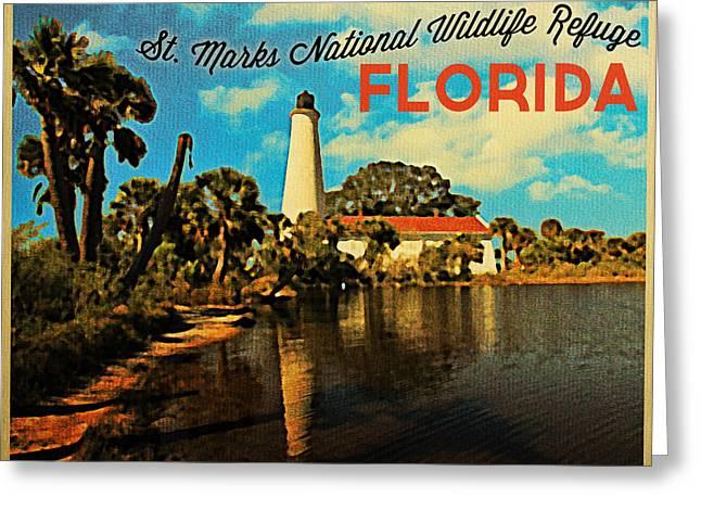 Wildlife Refuge Greeting Cards - St. Marks Lighthouse Florida Greeting Card by Flo Karp