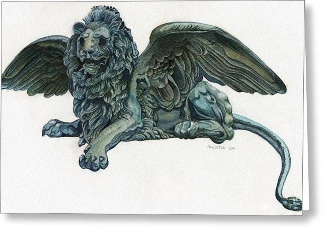 Beauty Mark Greeting Cards - St. Marks Lion Greeting Card by Francesca Zambon