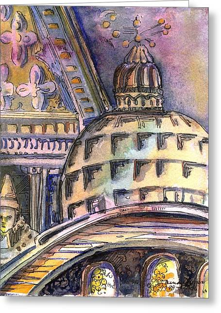 Catholic Drawings Greeting Cards - St Marks of Venice Greeting Card by Mindy Newman