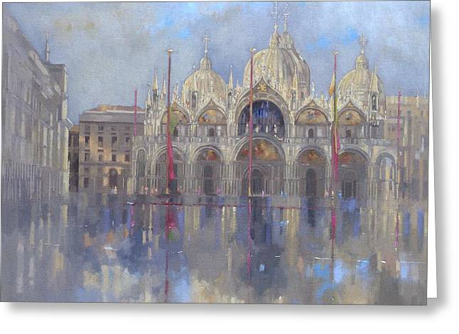 Fog Paintings Greeting Cards - St Marks -Venice Greeting Card by Peter Miller