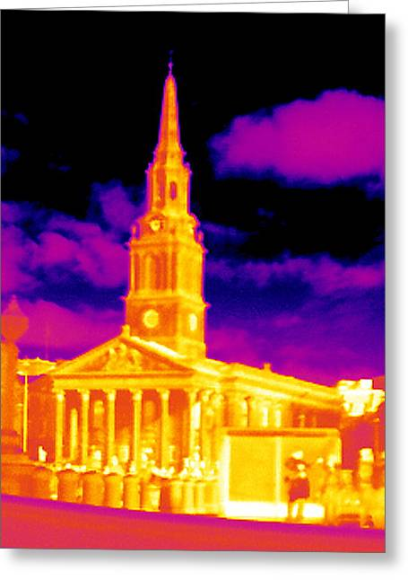 Trafalgar Greeting Cards - St-martin-in-the-fields, Thermogram Greeting Card by Tony Mcconnell
