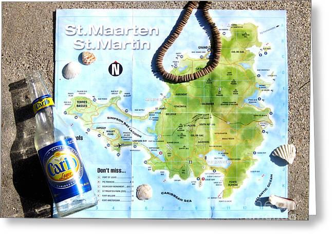 Jerome Stumphauzer Greeting Cards - St. Martin St. Maarten Map Greeting Card by Jerome Stumphauzer