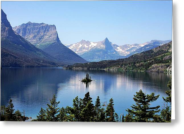Elevation Digital Art Greeting Cards - St Mary Lake - Glacier National Park MT Greeting Card by Christine Till