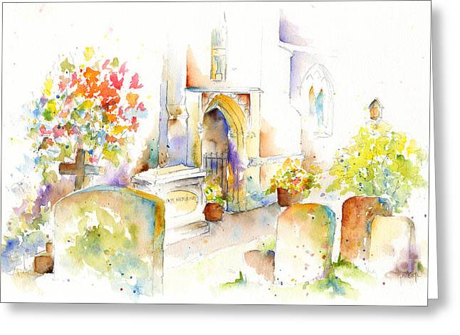Headstones Greeting Cards - St Mary The Virgin Headstones Greeting Card by Pat Katz